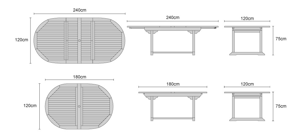 Brompton Extending Double-Leaf Table - Dimensions